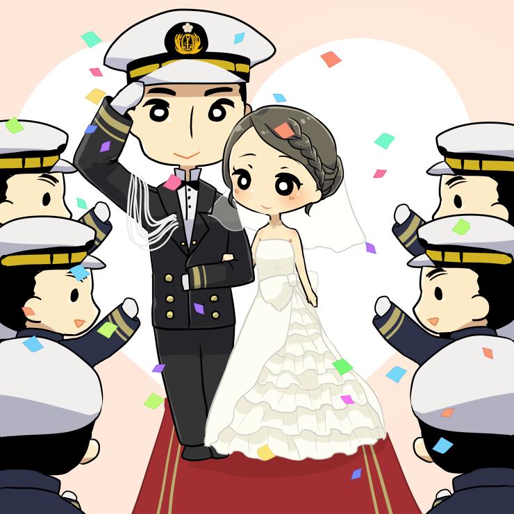 儀礼服は、将官クラスでないと着用する機会がありません。結婚式の儀礼服は、隊員専用のレンタル品。専門の業者が基地内の厚生でのみ取り扱っているもので、一般の人が